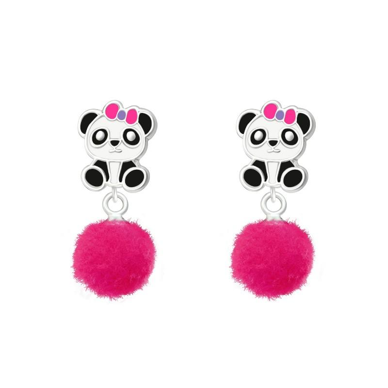children's sterling silver drop panda stud earrings