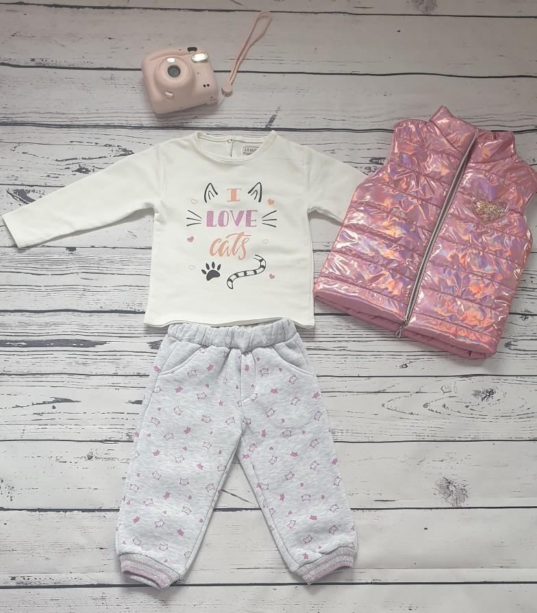 children wear girls set holographic gilet