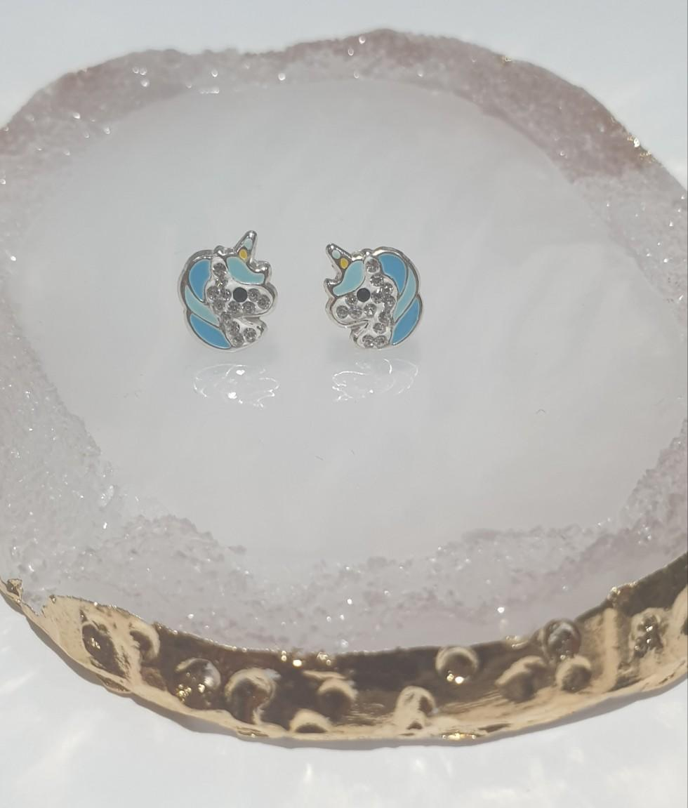 children's sterling silver diamante unicorn stud earrings