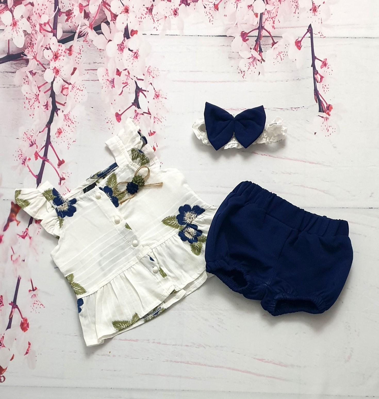 navy baby bloomer set