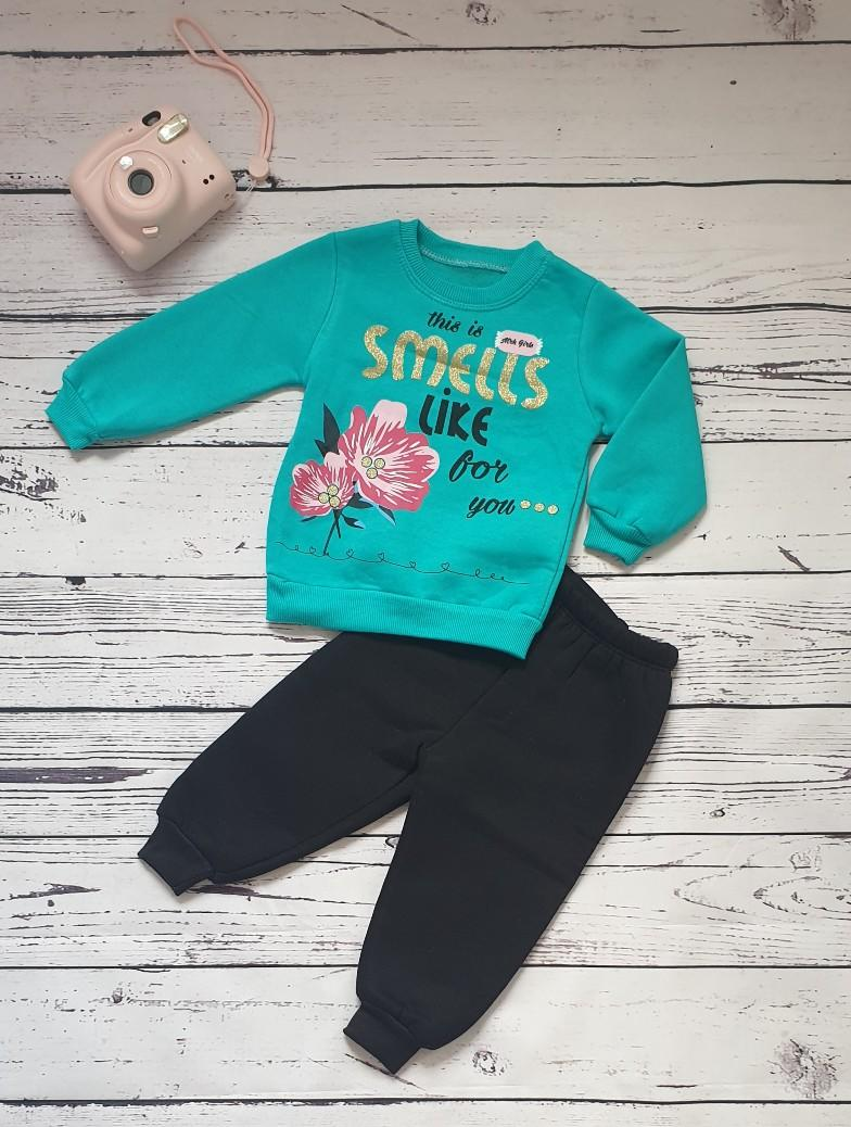 children wear girls set flowers green