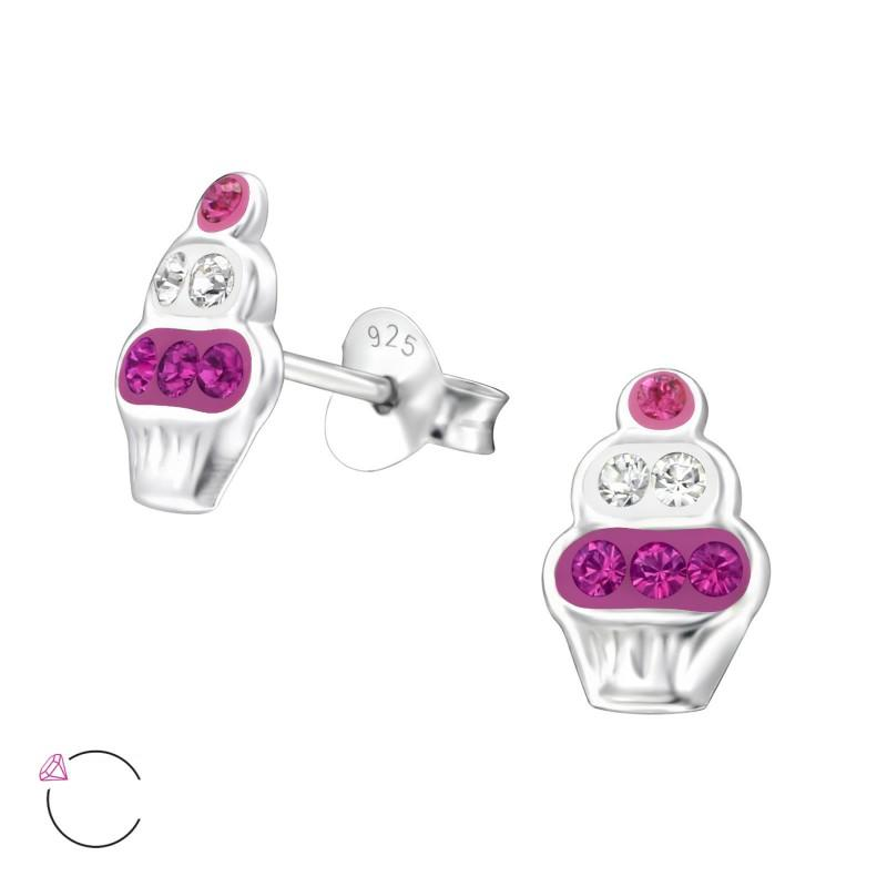 children's sterling silver cupcake stud earrings