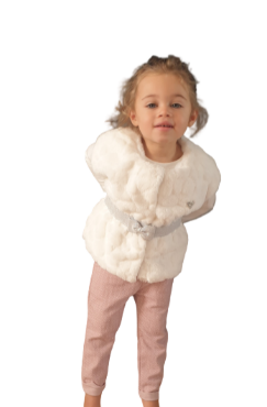 children wear girls set creme fur gilet