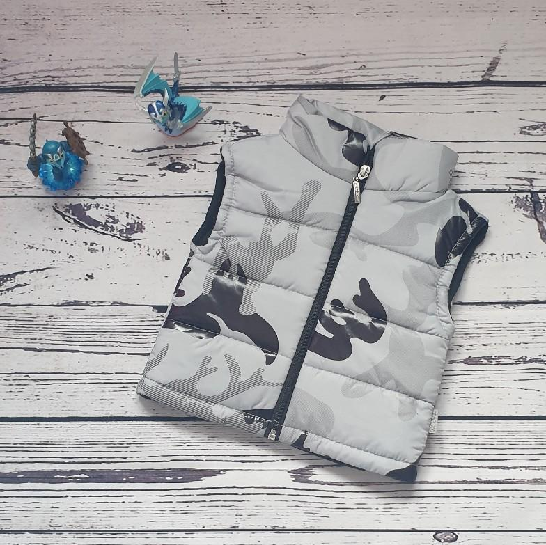 children wear baby boy camouflage vest grey