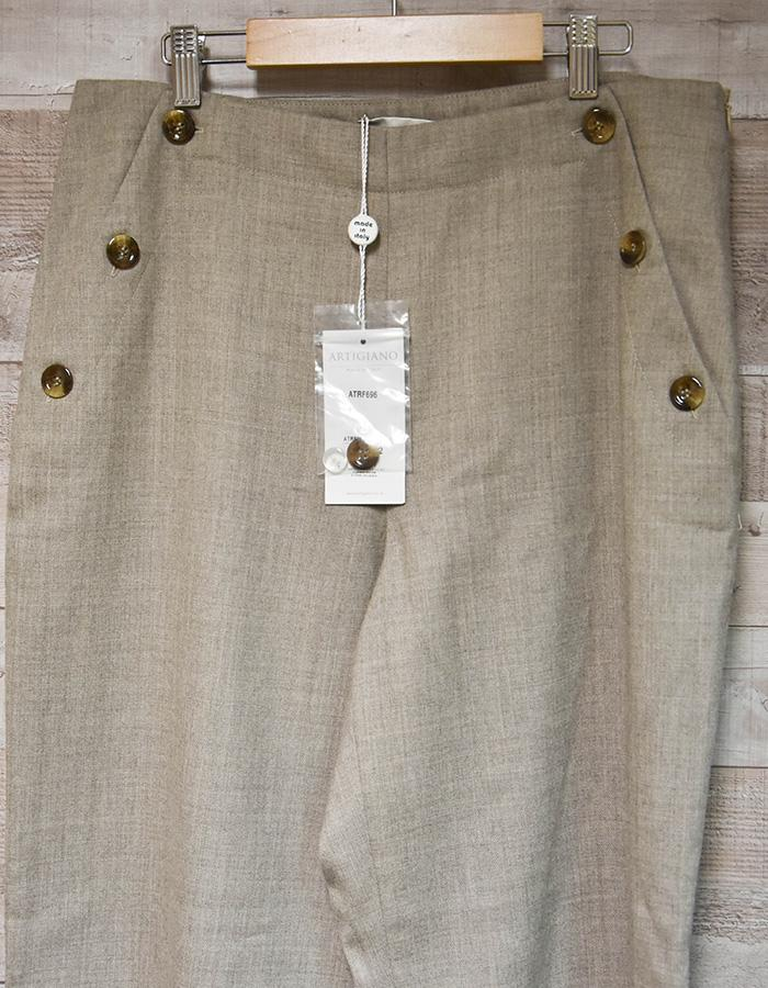 ARTIGIANO BEIGE WIDE LEGGED LADIES TROUSERS WITH FRONT BUTTON POCKET DESIGN SIZE 14