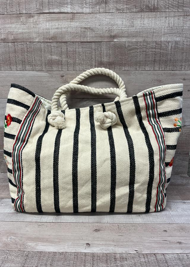 PAPAYA BLACK AND CREAM STRIPE WITH EMBROIDERED FLOWER DESIGN BEACH BAG02-03-2021 at 09.46.37 2.JPG