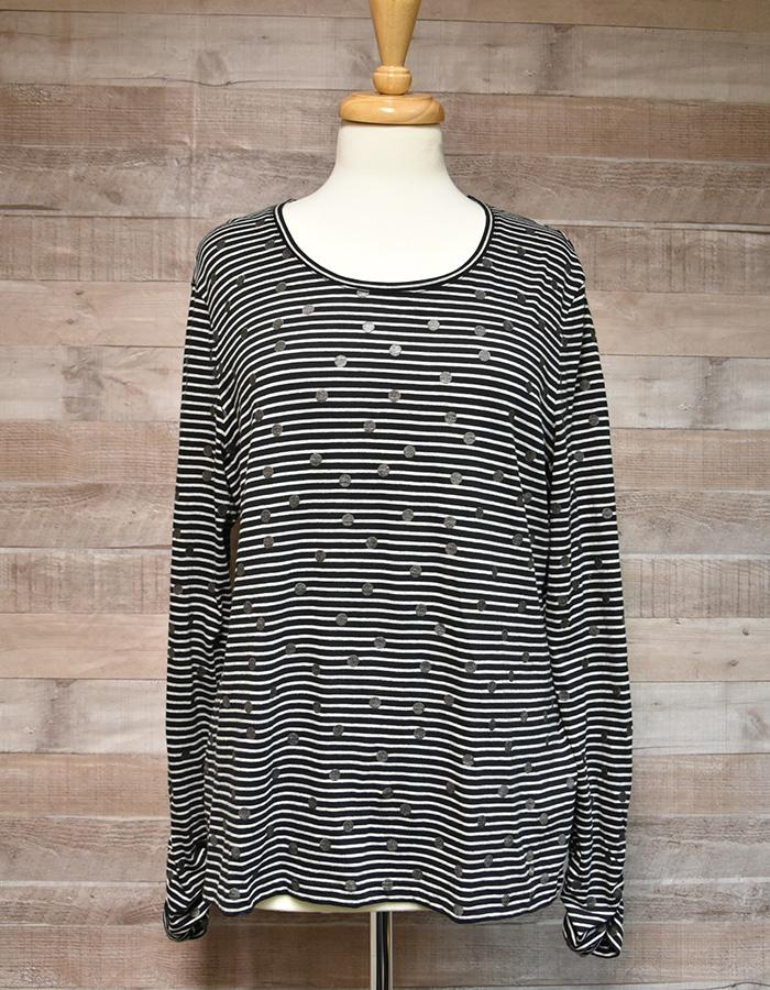 GERRY WEBER BLUE AND GREY STRIPE WITH SILVER SPOTS ORGANIC TEXTILE LADIES TOP SIZE 18