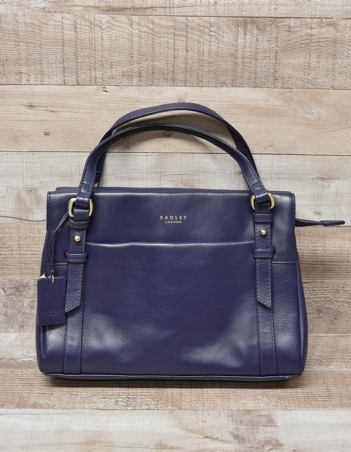 RADLEY NAVY BLUE SMALL LEATHER HANDBAG