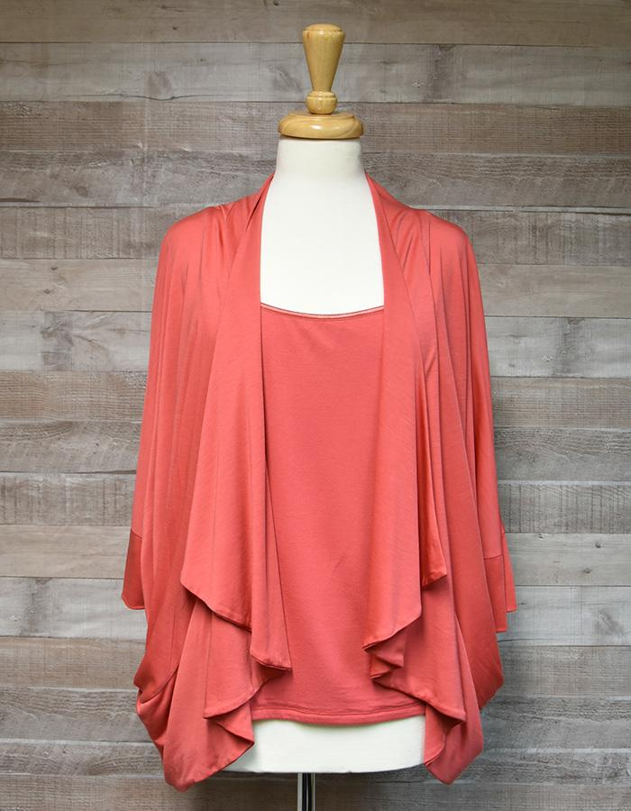 JAEGAR CORAL TWO PIECE SET VEST TOP AND WATERFALL CARDIGAN, SIZE XL