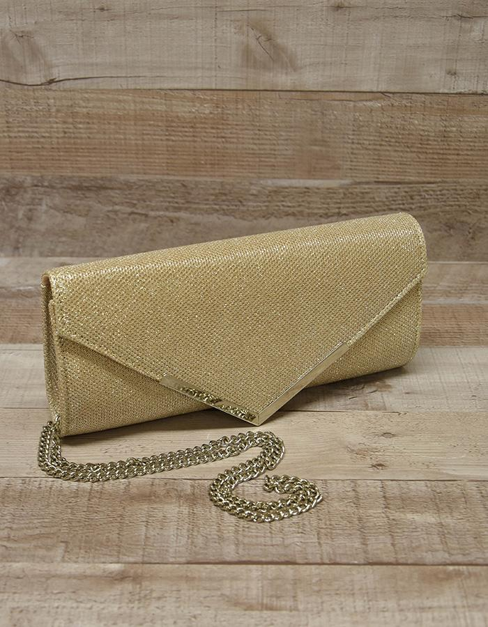 CARVELA KURT GEIGER GOLD LAME LADIES CLUTCH BAG WITH CHAIN HANDLE/STRAP