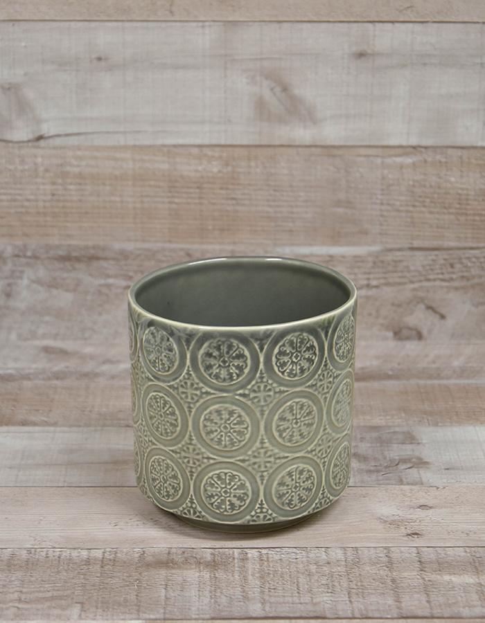 GREY PATTERNED CERAMIC PLANT POT 13CM TALL