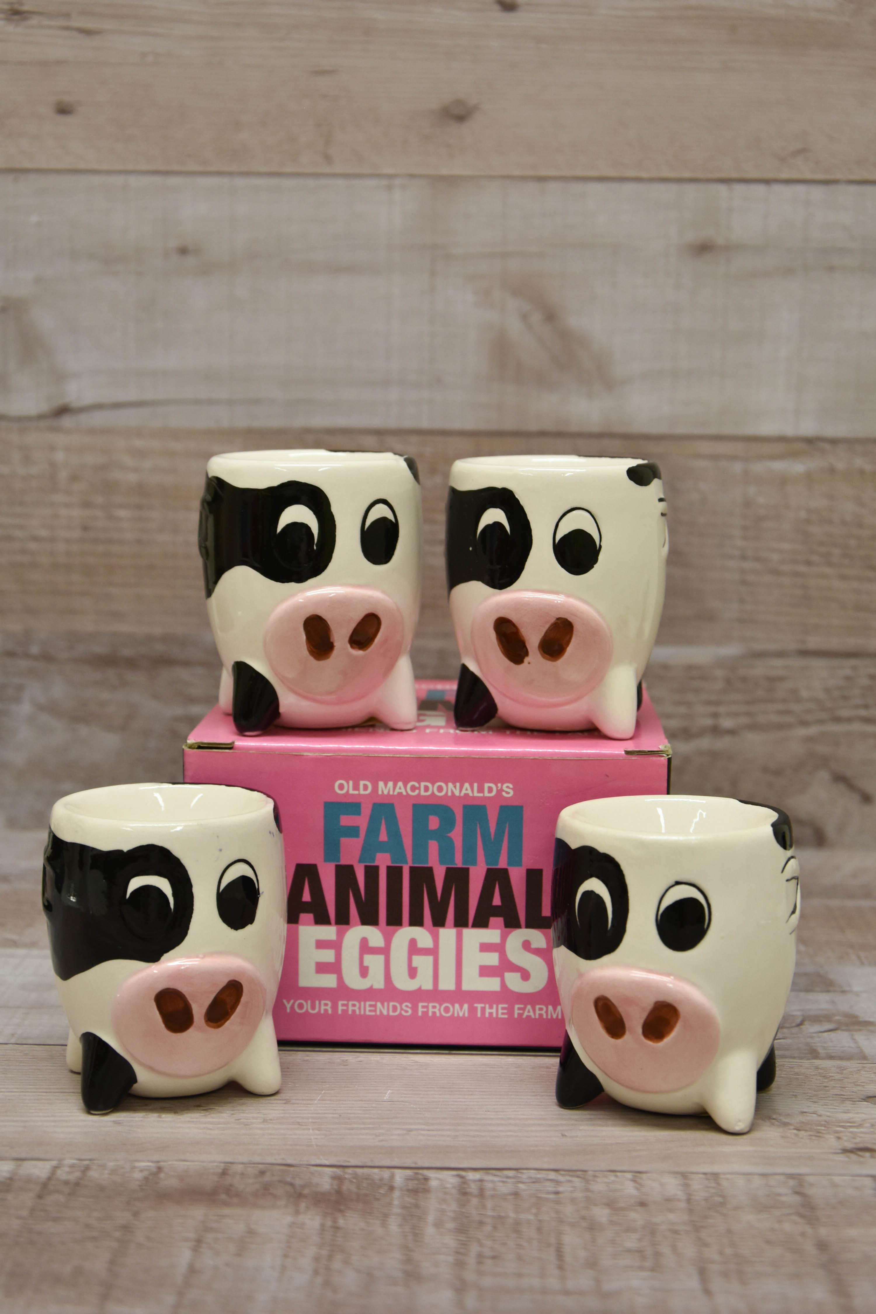 Old Macdonalds Farm Animal Eggies Set of Four Cow Shaped Egg Cups-4825