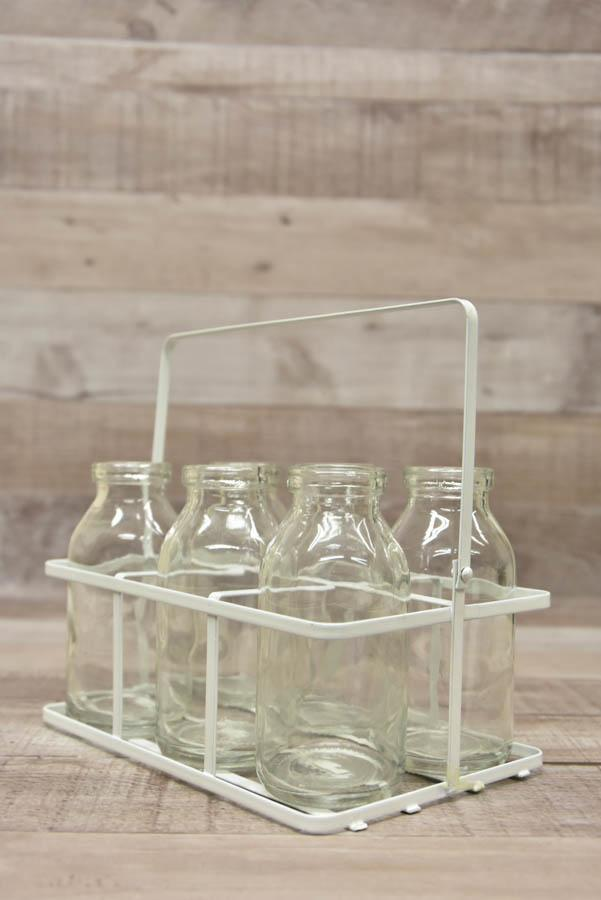 Set of Six Small Milk Bottles in Cream Metal Holder22-01-2021 at 12.52.32 2