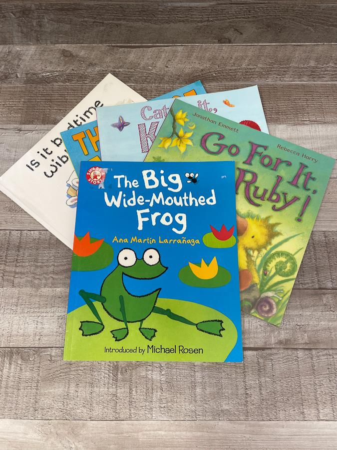 SET OF FIVE CHILDRENS BOOK INCLUDING THE BIG WIDE MOUTHED FROG