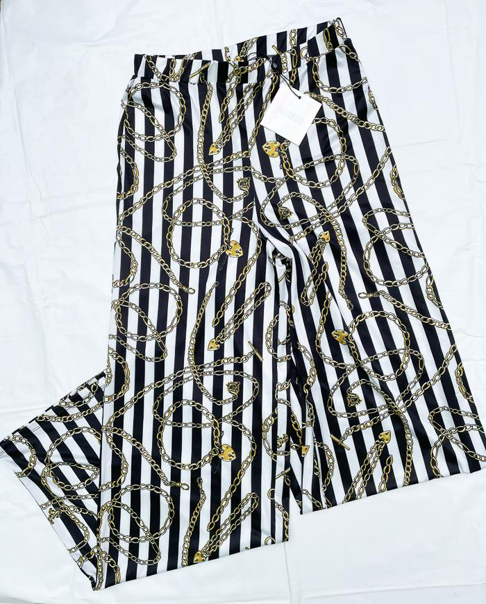 MISGUIDED BLACK AND WHITE PALLAZO PANTS SIZE 10.JPG