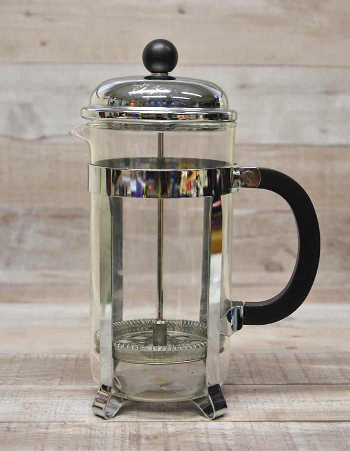 LARGE CHROME AND GLASS CAFETIERE