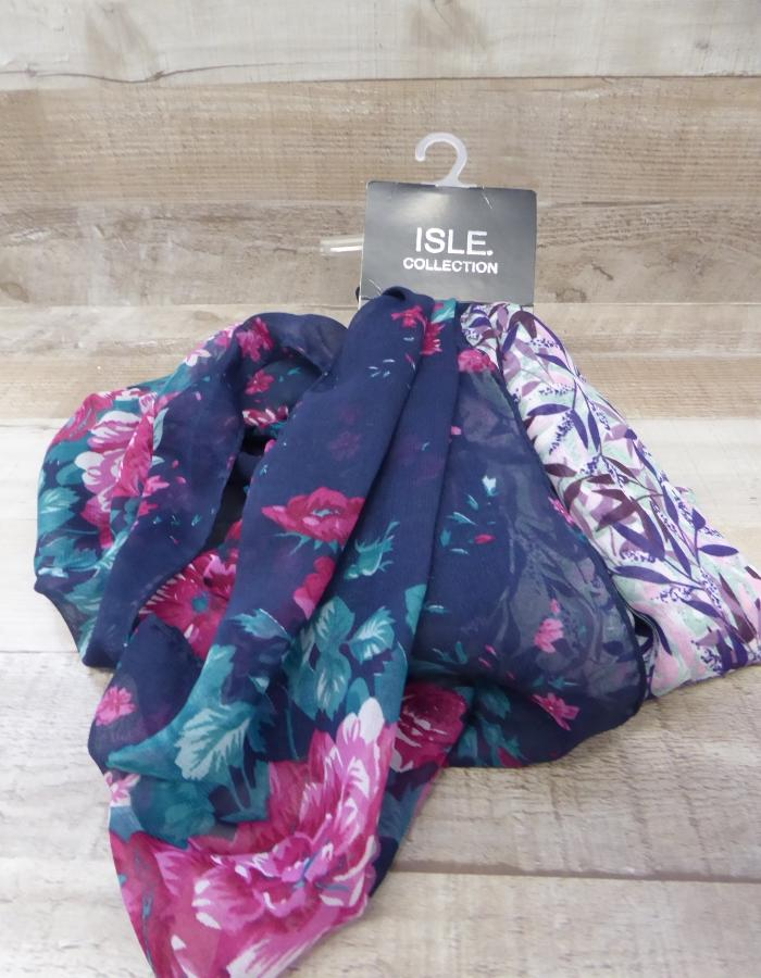 ISLE COLLECTION PURPLE AND PINK FLORAL SCARF.JPG
