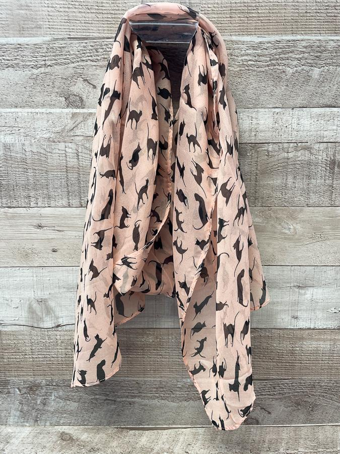 PEACH COLOURED SCARF WITH BLACK CAT DESIGN22-03-2021 at 15.27.31 2.JPG