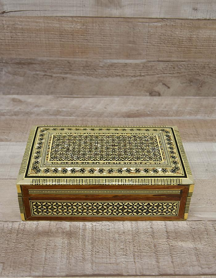 DECORATIVE CREAM INLAID WOODEN BOX, MEDIUM (20 cm x 12 cm x 6 cm)