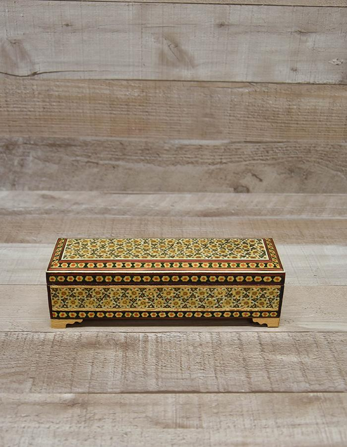 DECORATIVE CREAM INLAID WOODEN BOX WITH FEET (20 cm x 6 cm x 5 cm)