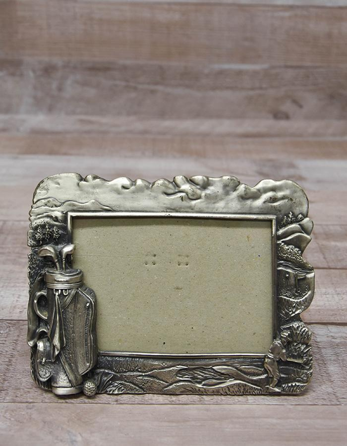 SMALL SILVER COLOURED 3D GOLFING THEMED PHOTO FRAME