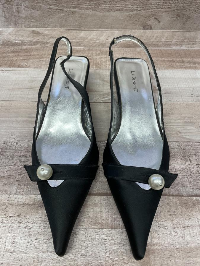 L K BENNETT BLACK SATIN WITH PEARL DETAIL LADIES SLING BACK SHOW SIZE 38.515-03-2021 at 11.52.19 2.JPG