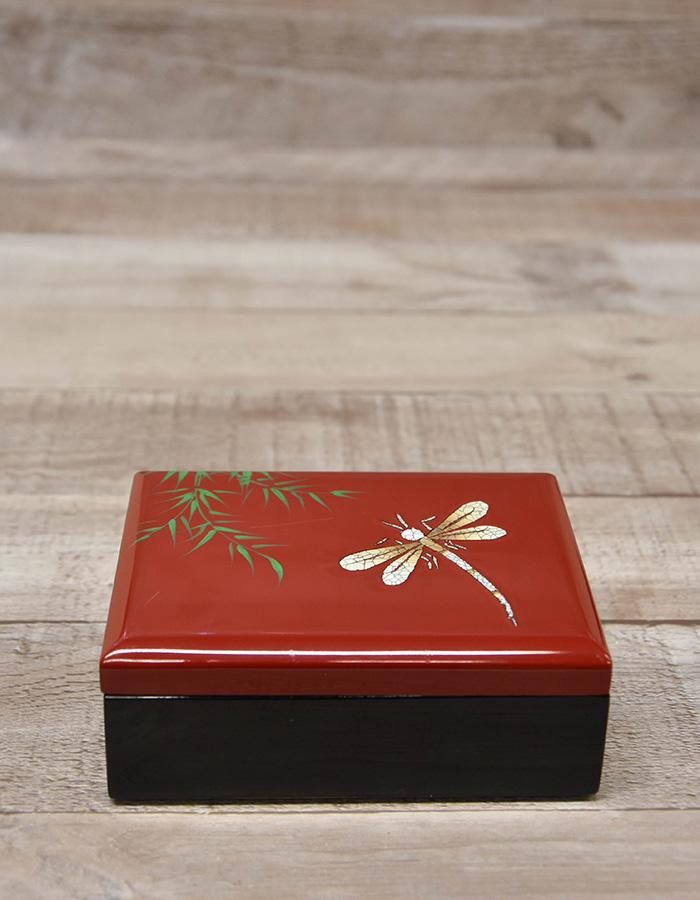 PLASTIC RED AND BLACK SMALL JEWELLERY BOX WITH DRAGONFLY DESIGN