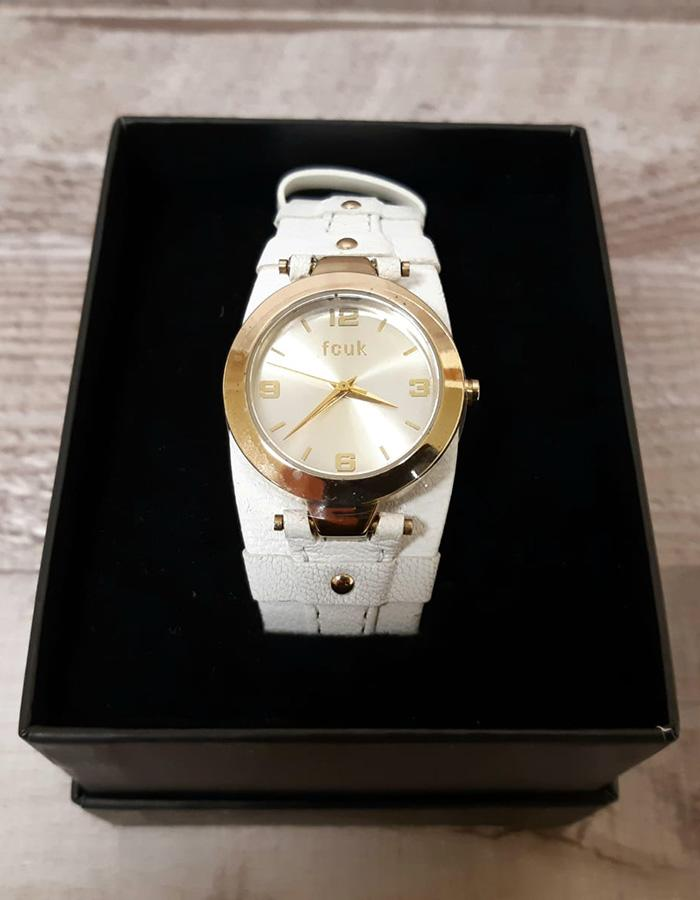 French Connection white watch with leather strap