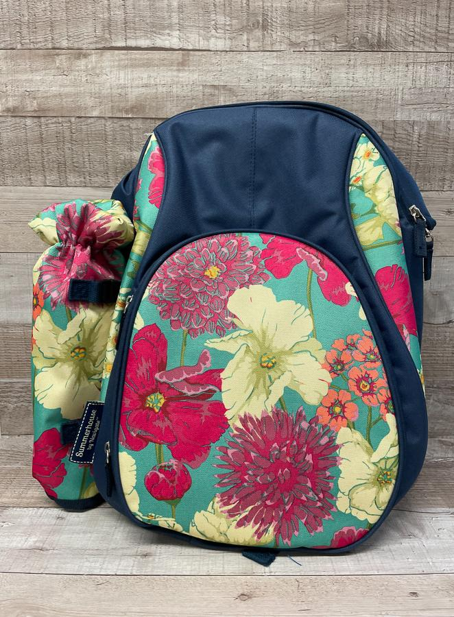 SUMMERHOUSE BY NAVIGATE NAVY AND FLORAL RUCK SACK STYLE PICNIC BAG 26-02-2021 at 13.33.43 2.JPG