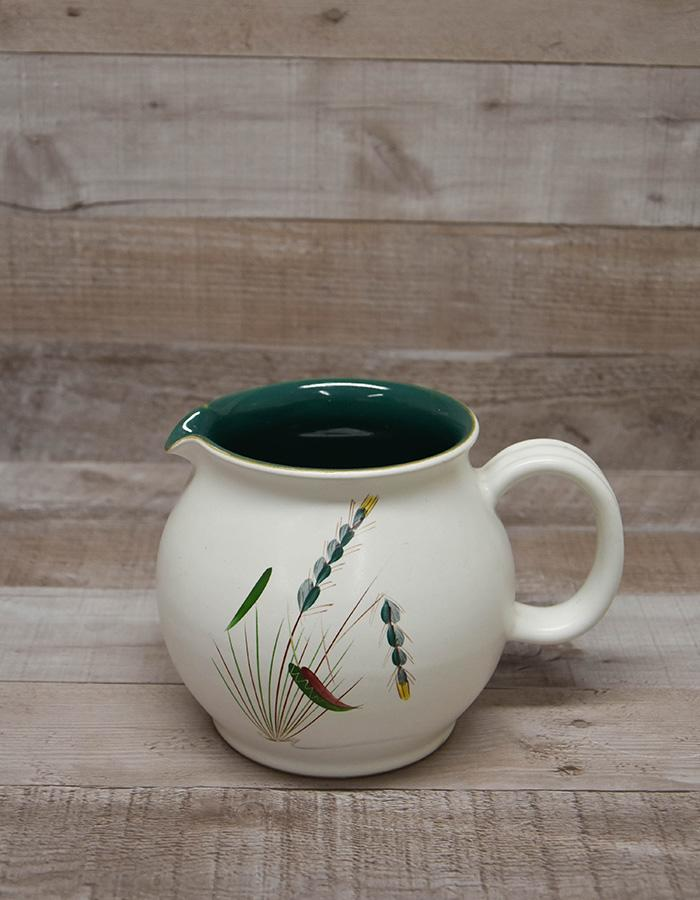 DENBY OVEN PROOF WHITE JUG WITH GREEN INNER, 'GREENWHEAT DESIGN' 14 CM TALL