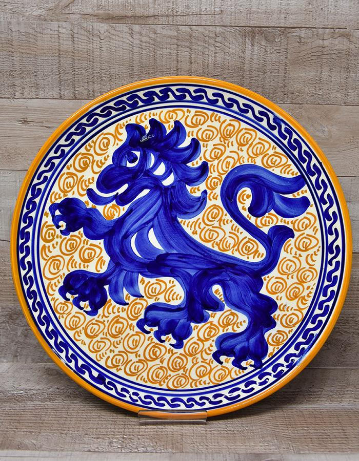 PINTADO A MANO LARGE DECORATIVE PLATE WITH ROYAL BLUE CHINESE DRAGON DESIGN