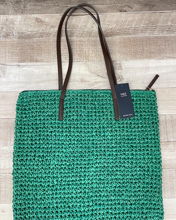 MARKS AND SPENCERS BRIGHT GREEN WOVEN SHOPPING BAG26-03-2021 at 14.23.33 2.JPG