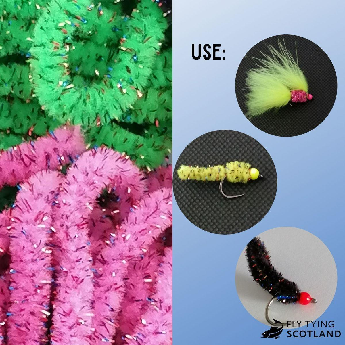 Yellow Chenille fly tying material