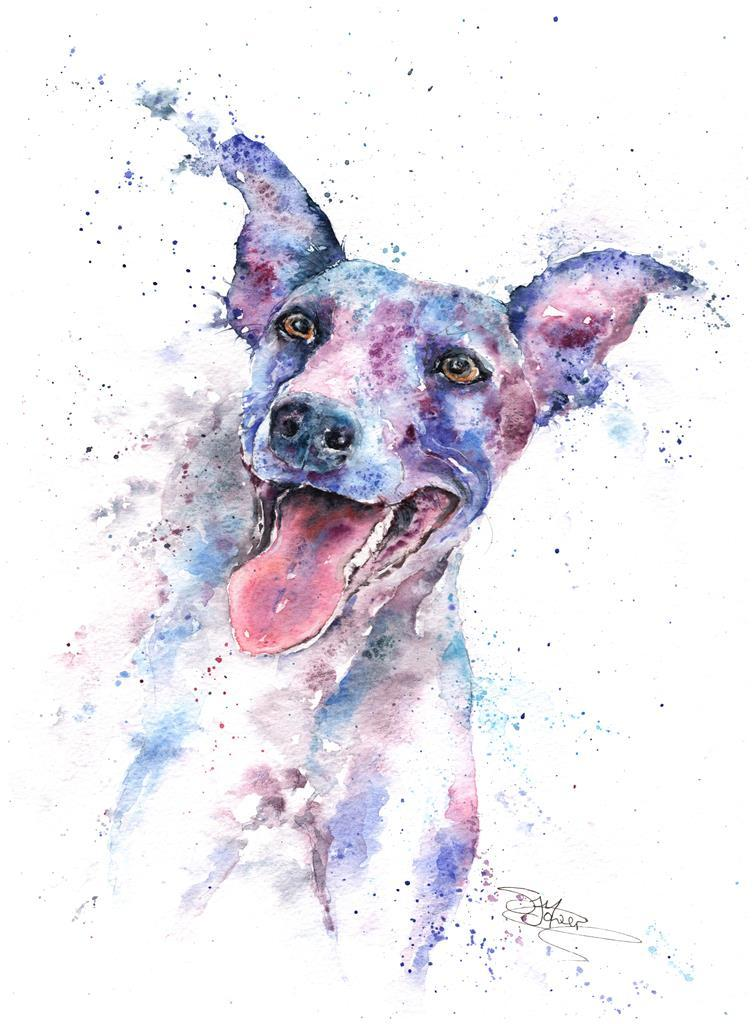 whippet watercolour painting