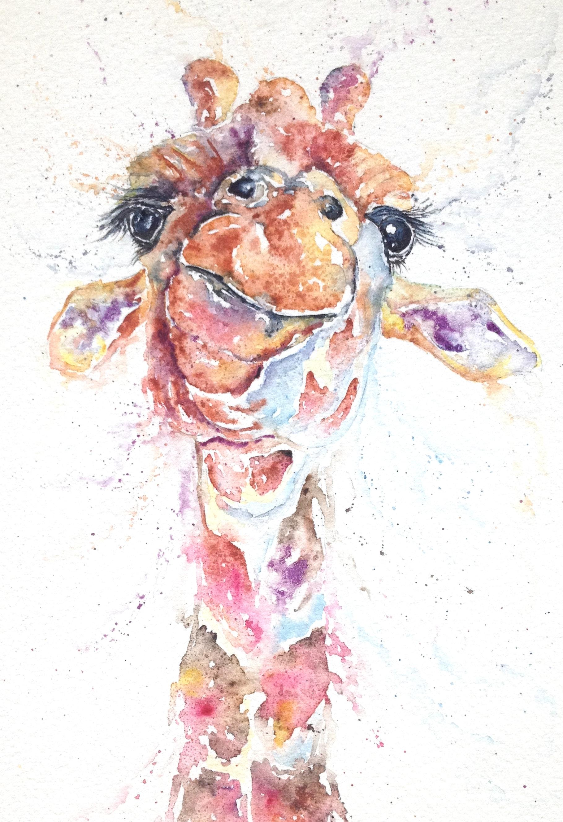 Giraffe art watercolour