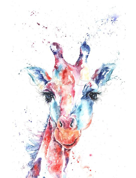 Giraffe watercolour painting