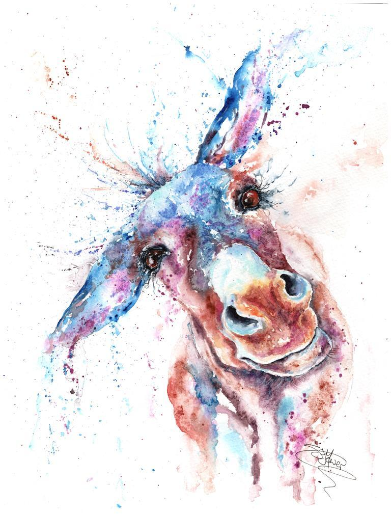 Donkey watercolour painting