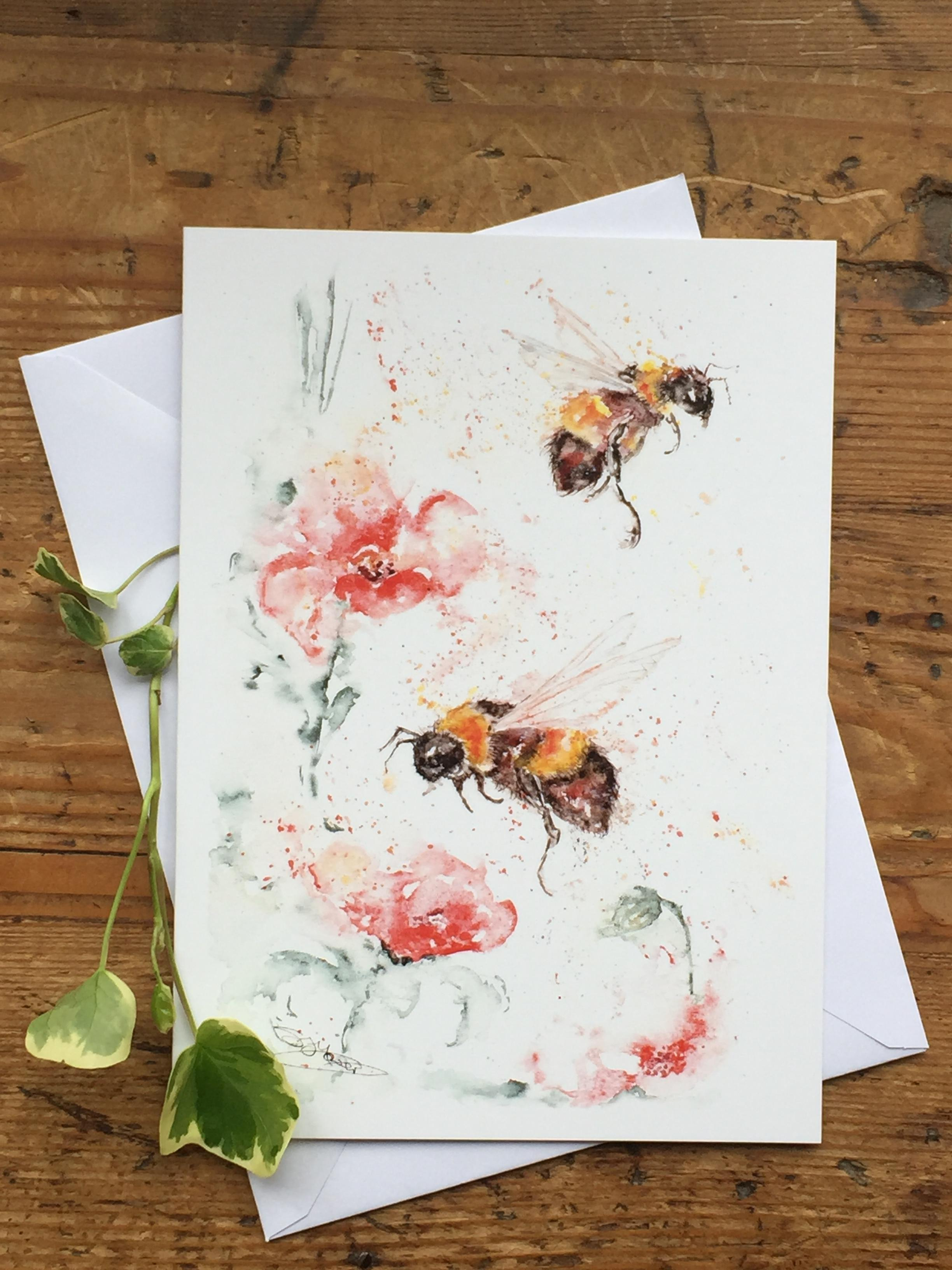 poppys and bees watercolour greetings card