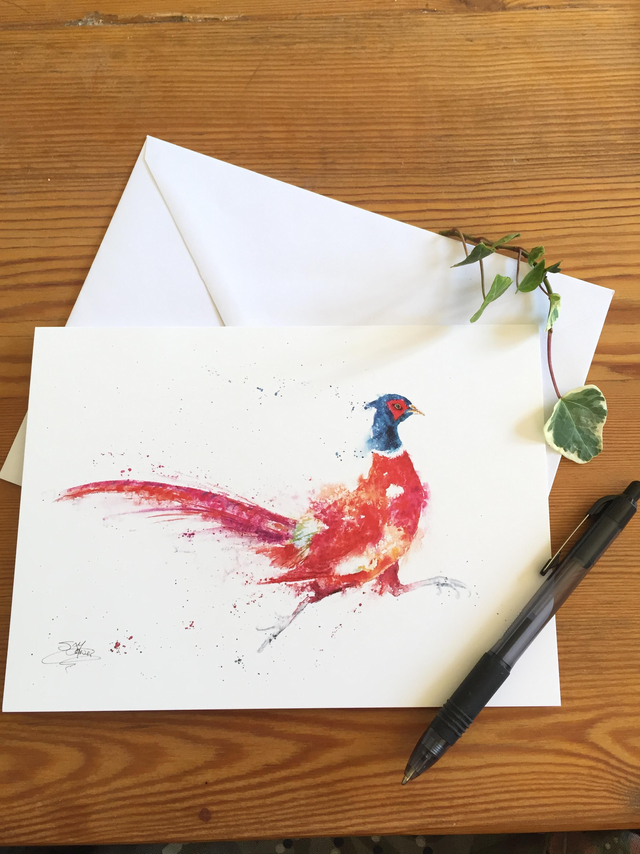 running pheasant card