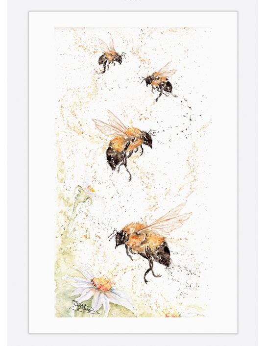 bee happy tea towel