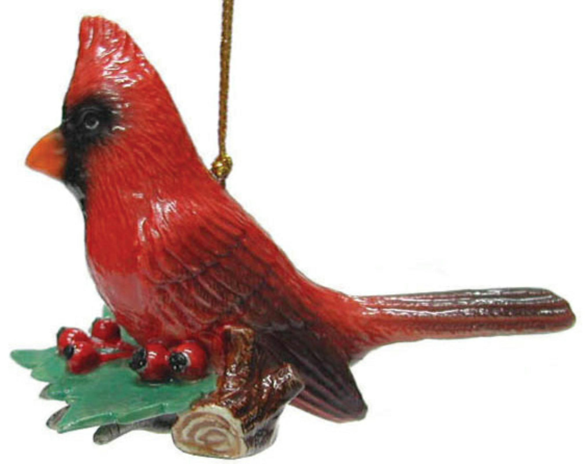 Northern Rose Porcelain Christmas Tree Decoration Cardinal On Holly R269