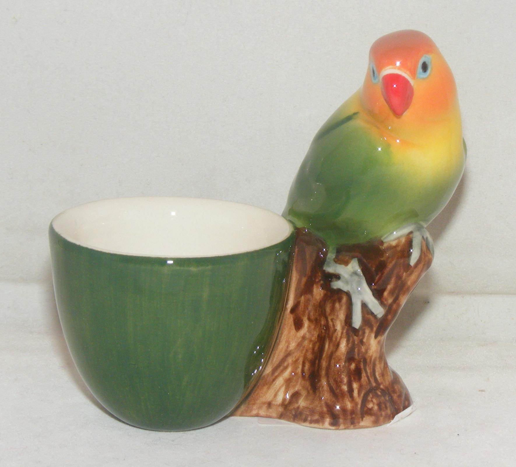 Quail Ceramics Fischers Love Bird With Egg Cup 3153