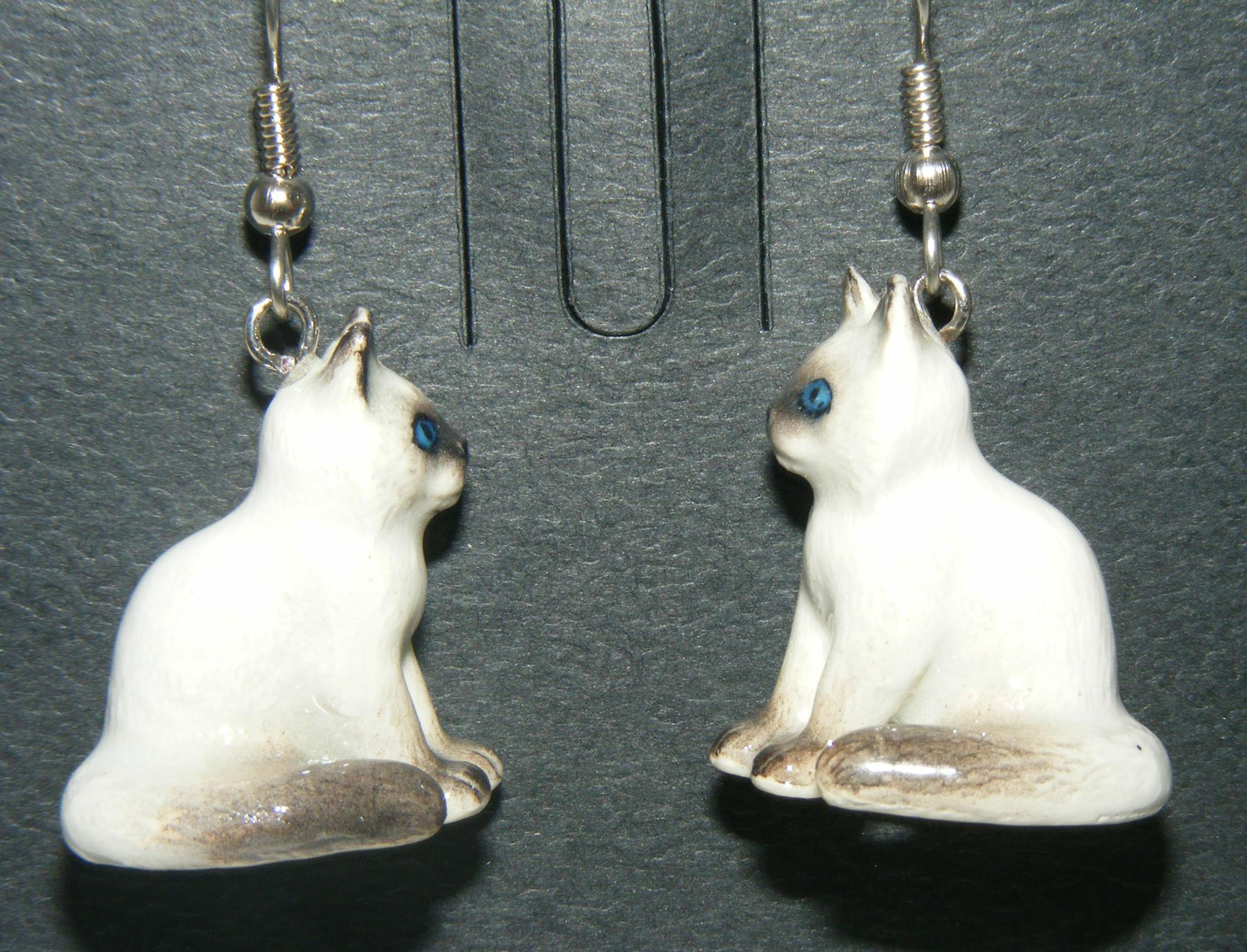 Northern Rose Porcelain Kitten Drop Earrings JE007