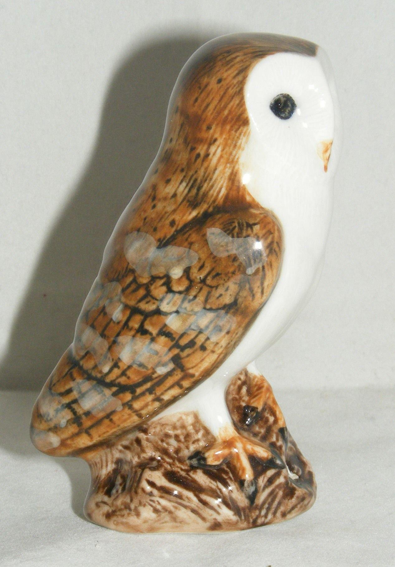 "Quail Ceramics Bird Figure Barn Owl 3.5"" 844"