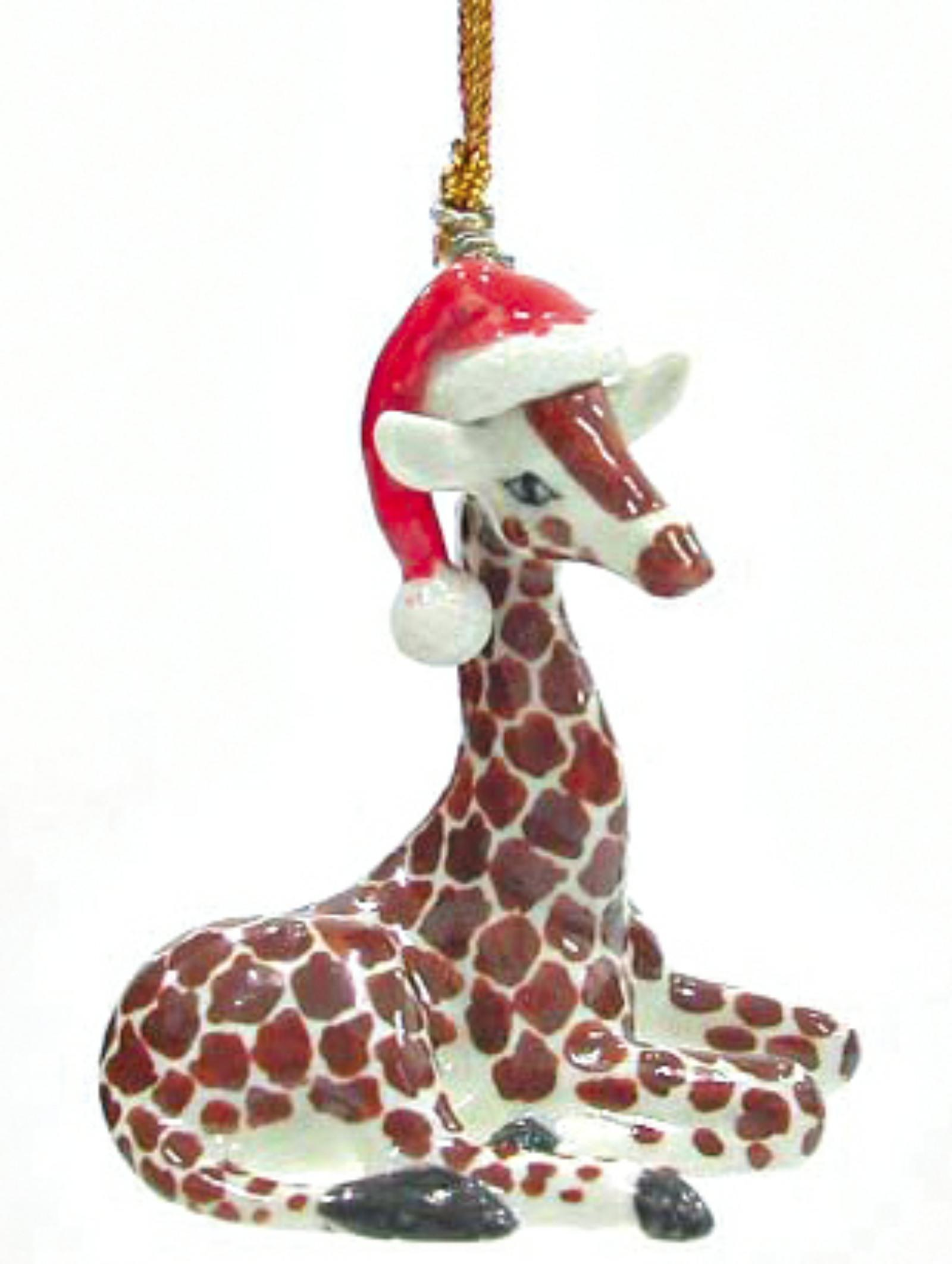 Northern Rose Porcelain Christmas Tree Decoration Giraffe With Santa Hat  R267