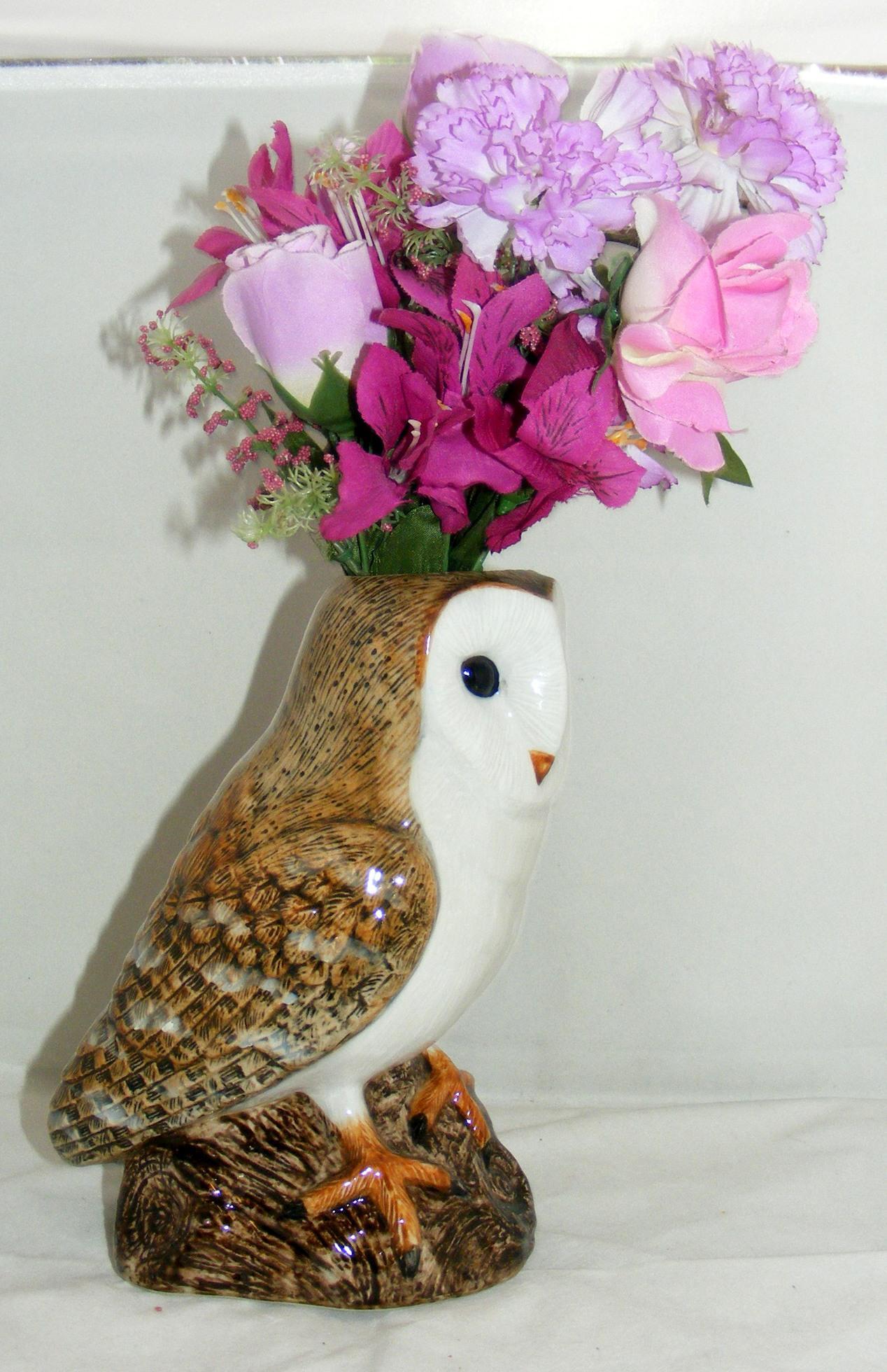 Quail Ceramics Barn Owl Flower Vase 878