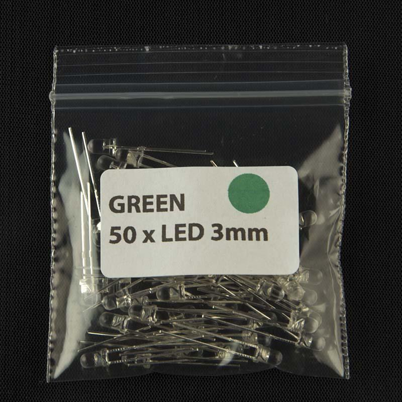 Pack of quantity 50 size 3mm LED with clear lens and green color