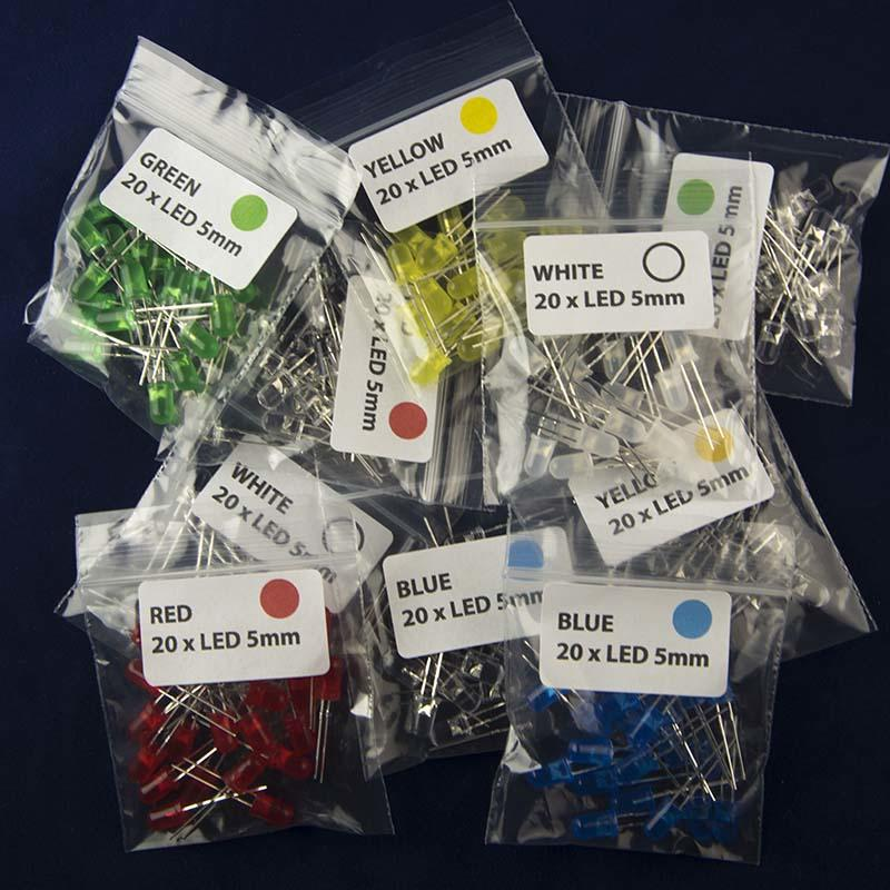 Multiple packs of 20 5mm LEDs in Five Colors