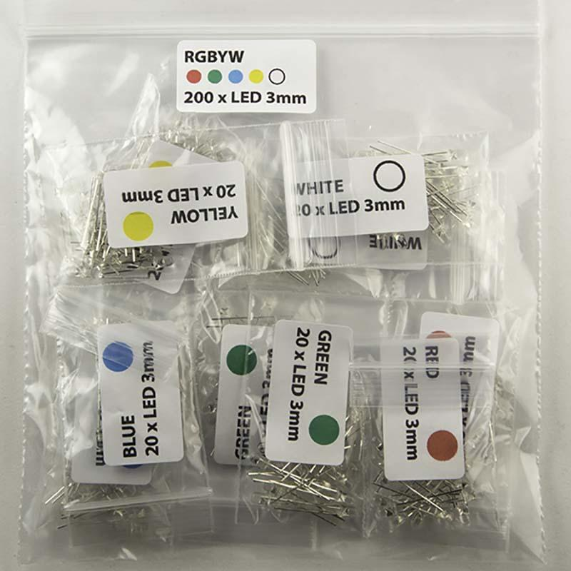 Pack of 200 Clear 3mm size LED color Red Green Blue Yellow and White