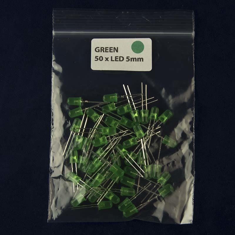 Pack of 50 LED size 5mm with diffused lens and color green
